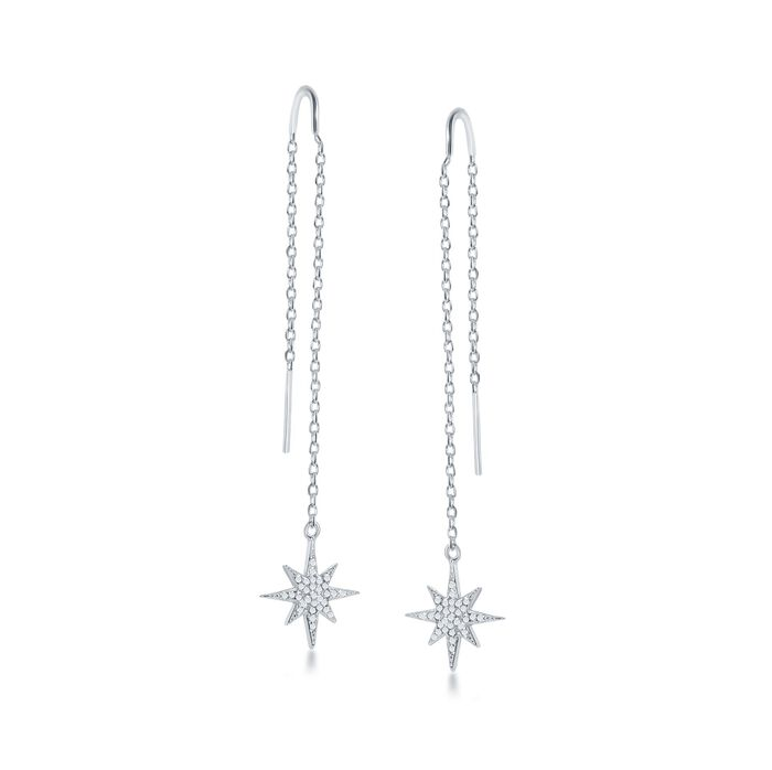 .40 ct. t.w. CZ Starburst Drop Threader Earrings in Sterling Silver, , default