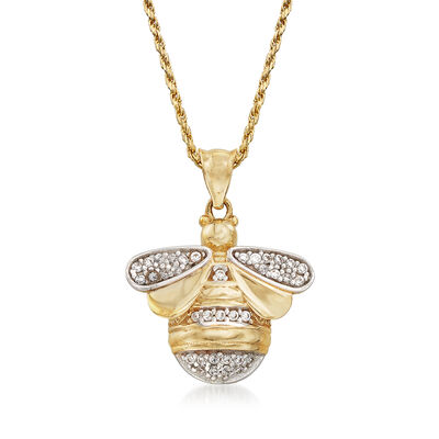 .20 ct. t.w. CZ Bee Adjustable Pendant Necklace in 14kt Two-Tone Gold, , default