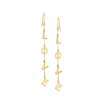 "14kt Yellow Gold ""Love"" Drop Earrings, , default"