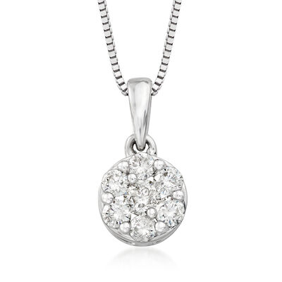.25 ct. t.w. Diamond Cluster Flower Pendant Necklace in 14kt White Gold