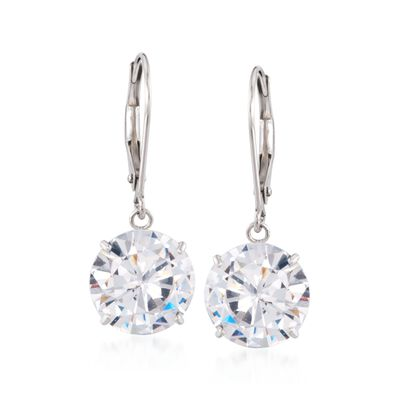 7.00 ct. t.w. CZ Drop Earrings in 14kt White Gold, , default