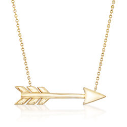 14kt Yellow Gold Arrow Necklace, , default