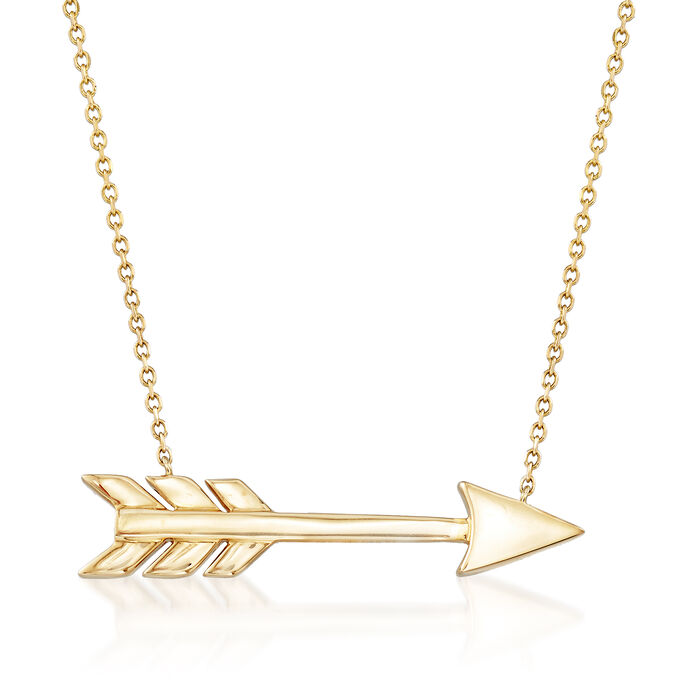 "14kt Yellow Gold Arrow Necklace. 16"", , default"