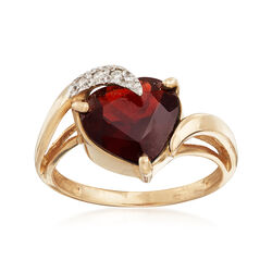 C. 1990 Vintage 3 Carat Garnet Ring With Diamond Accents in 14kt Yellow Gold, , default