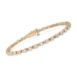"C. 1990 Vintage 4.20 ct. t.w. Diamond Tennis Bracelet in 14kt Yellow Gold. 7"", , default"