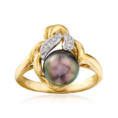 C. 1980 Vintage 8.5mm Black Cultured Pearl and .10 ct. t.w. Diamond Ring in 18kt Yellow Gold, , default