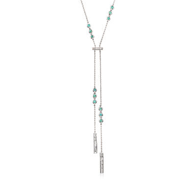 .81 ct. t.w. Diamond and .50 ct. t.w. Emerald Lariat Necklace in 18kt White Gold, , default