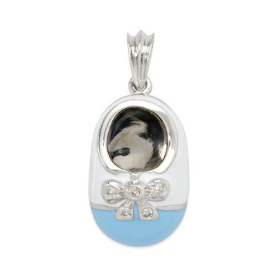 Shoe Charm Pendant with Diamond Accents and Enamel in 14kt White Gold , , default