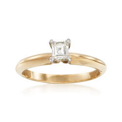 C. 2010 Vintage .27 Carat Emerald-Cut Diamond Solitaire Ring in 14kt Yellow Gold. Size 6, , default