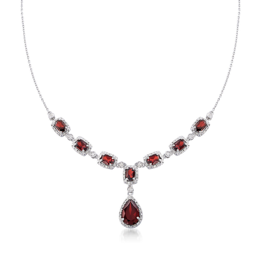 afd8a13ca 8.70 ct. t.w. Garnet and .26 ct. t.w. Diamond Necklace in Sterling Silver