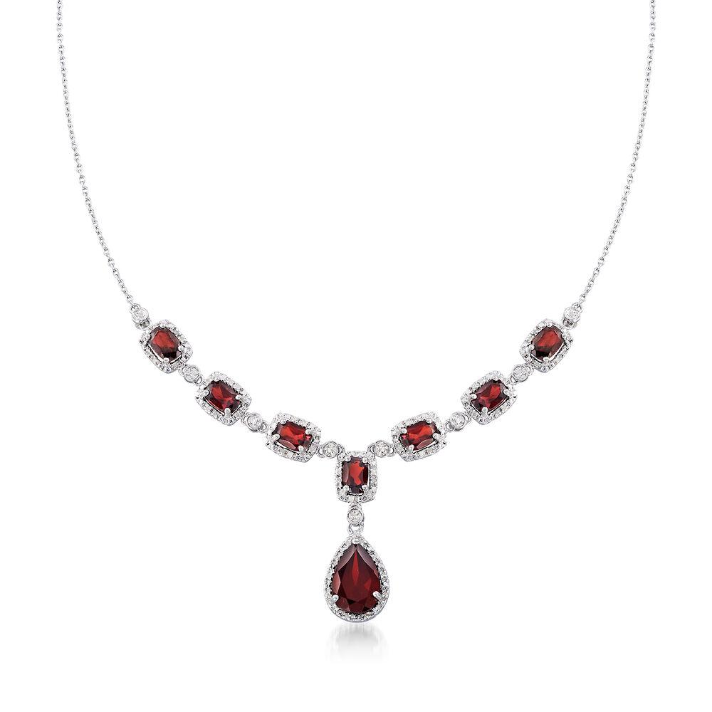 011e019f760efd 8.70 ct. t.w. Garnet and .26 ct. t.w. Diamond Necklace in Sterling ...