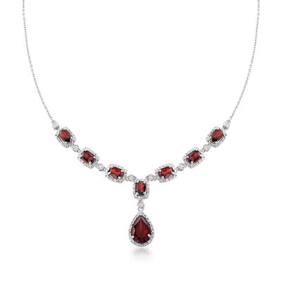 8.70 ct. t.w. Garnet and .26 ct. t.w. Diamond Necklace in Sterling Silver, , default