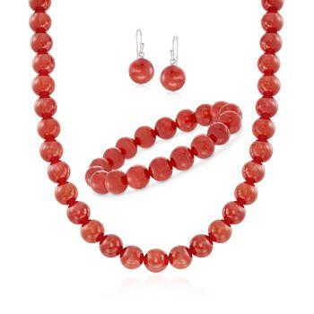 """10mm Carnelian Jewelry Set: Beaded Necklace, Bracelet and Earrings in Sterling Silver. 18"""", , default"""