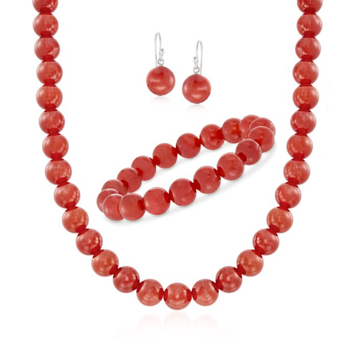 "10mm Carnelian Jewelry Set: Beaded Necklace, Bracelet and Earrings in Sterling Silver. 18"", , default"