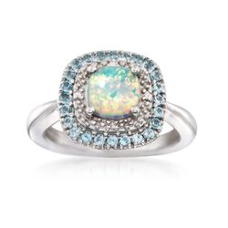 Opal and .70 ct. t.w. Blue Topaz Ring With Diamond Accents in Sterling Silver, , default