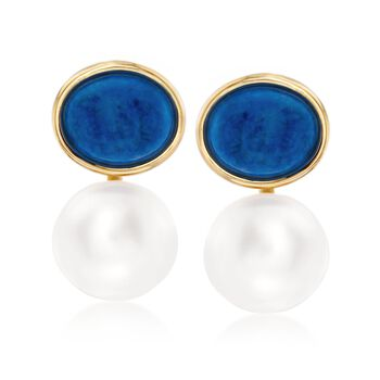 13mm Cultured Pearl and Lapis Drop Earrings in 14kt Yellow Gold, , default
