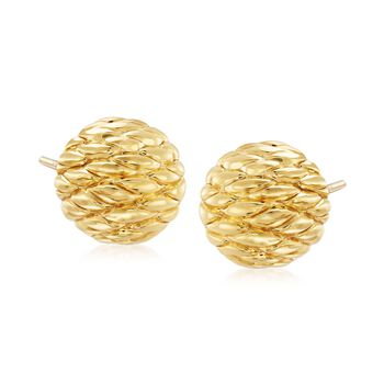 14kt Yellow Gold Quilted Earrings, , default