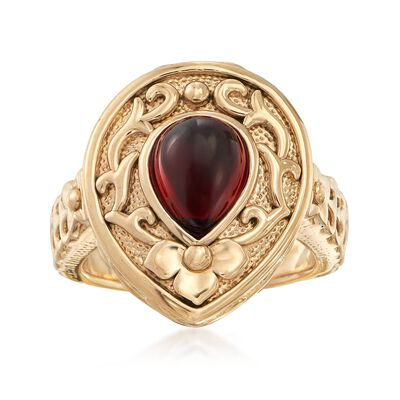 2.90 Carat Garnet Floral Scroll Ring in 14kt Yellow Gold, , default