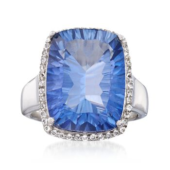 9.75 Carat Blue Quartz and .20 ct. t.w. White Topaz Ring in Sterling Silver, , default