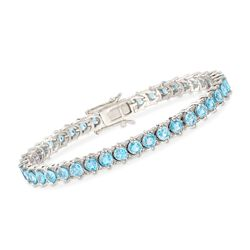 "14.00 ct. t.w. Blue Zircon and .50 ct. t.w. White Topaz Bracelet in Sterling Silver. 8"", , default"