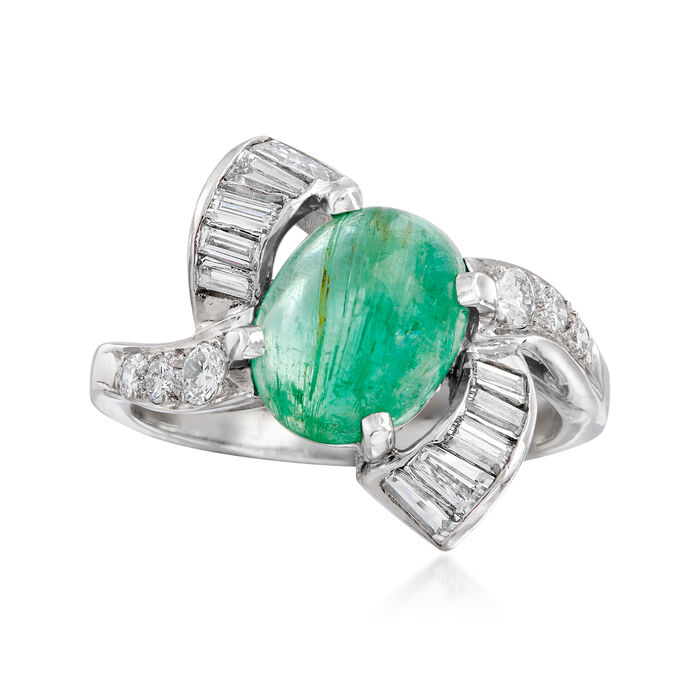 C. 1970 Vintage 1.85 Carat Emerald and .60 ct. t.w. Diamond Ring in 14kt White Gold