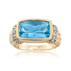 C. 1980 Vintage 5.8 Carat Blue Topaz Ring With Diamond Accents in 10kt Yellow Gold, , default