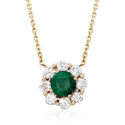 ".50 Carat Emerald and .48 ct. t.w. Diamond Necklace in 14kt Yellow Gold. 16"", , default"
