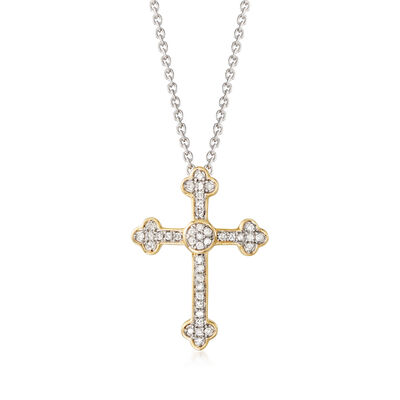 .13 ct. t.w. Diamond Cross Pendant Necklace in Sterling Silver with 18kt Gold Over Sterling , , default