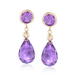 9.80 ct. t.w. Amethyst Drop Earrings in 14kt Yellow Gold, , default