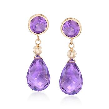 9.80 ct. t.w. Amethyst Drop Earrings in 14kt Yellow Gold , , default