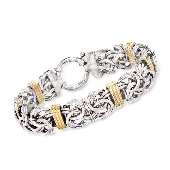 Sterling Silver and 14kt Yellow Gold Byzantine Station Bracelet