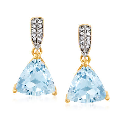 6.50 ct. t.w. Sky Blue Topaz Drop Earrings with White Topaz in 18kt Gold Over Sterling