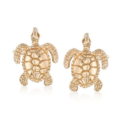 14kt Yellow Gold Turtle Stud Earrings, , default
