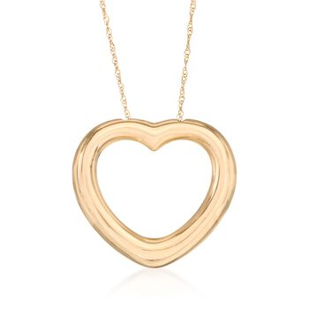 """14kt Yellow Gold Heart Necklace. 17"""", , default"""