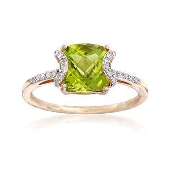 1.80 Carat Cushion-Cut Peridot and .12 ct. t.w. Diamond Ring in 14kt Yellow Gold, , default