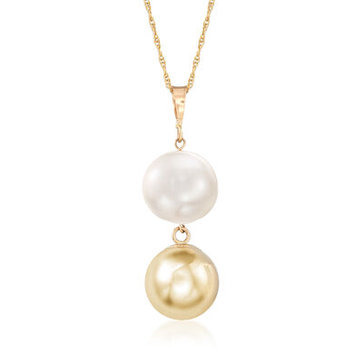 9.5-10mm Cultured Pearl and 14kt Yellow Gold Bead Drop Necklace, , default