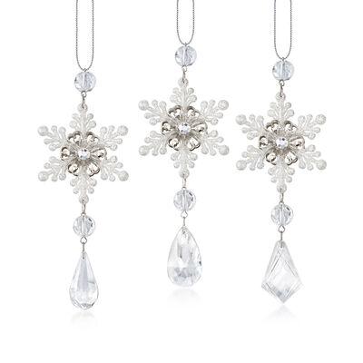 Kurt Adler Snowflake Drop Ornaments, , default