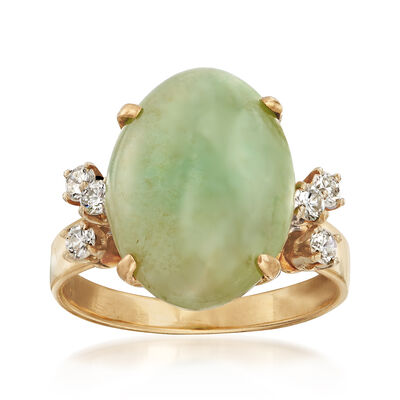 C. 1970 Vintage Jade Cabochon and .30 ct. t.w. Diamond Ring in 14kt Yellow Gold, , default