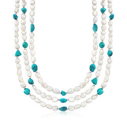 "7.5-8.5mm Cultured Pearl and 7-9mm Turquoise Bead Endless Necklace With Sterling Silver Shortener. 72"", , default"