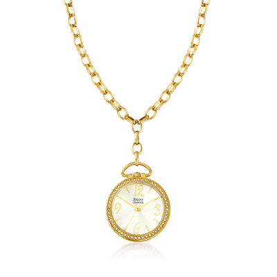 Saint James Swarovski Crystal 30mm Watch Pendant Necklace in Goldtone