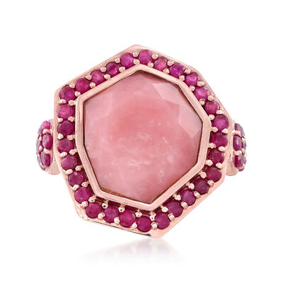 Pink Opal and 2.30 ct. t.w. Ruby Ring in 18kt Rose Gold Over Sterling Silver, , default