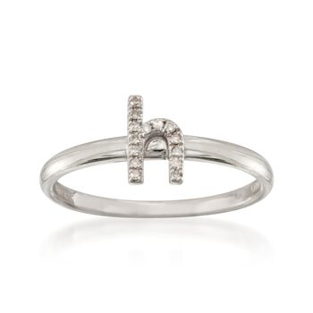 """Diamond Accent Mini Initial """"H"""" Ring in Sterling Silver, , default"""