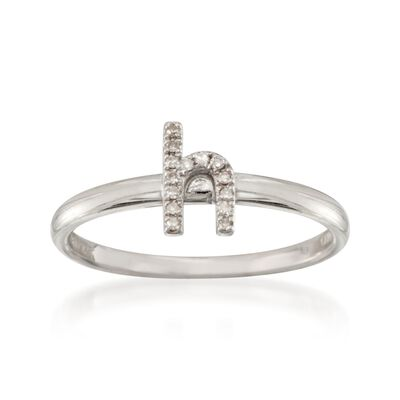 "Diamond Accent Mini Initial ""H"" Ring in Sterling Silver, , default"