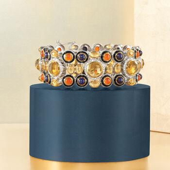 """Multi-Stone Bracelet with Enamel in Sterling Silver. 8"""", , default"""