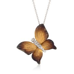 Simon G. .10 ct. t.w. Diamond Butterfly Pendant Necklace in 18kt Two-Tone Gold, , default