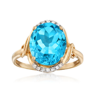 4.90 Carat Blue Topaz and .10 ct. t.w. Diamond Ring in 14kt Yellow Gold, , default