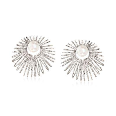 Italian Sterling Silver Jewelry Set: 8-8.5mm Cultured Pearl Earrings and Starburst Earring Jackets, , default