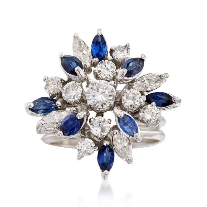 C. 1970 Vintage 1.55 ct. t.w. Diamond and .75 ct. t.w. Sapphire Floral Cluster Ring in 14kt White Gold. Size 5.5