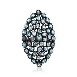 16.00 ct. t.w. Blue Zircon and .16 ct. t.w. Brown Diamond Ring in Sterling Silver, , default
