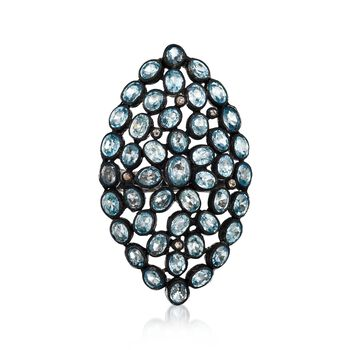 16.00 ct. t.w. Blue Zircon and .16 ct. t.w. Brown Diamond Ring in Sterling Silver. Size 7, , default